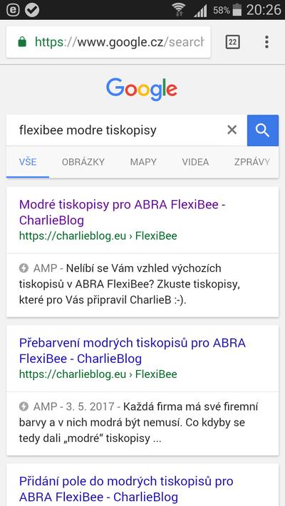 Blesk ve výsledcích vyhledávání na Google