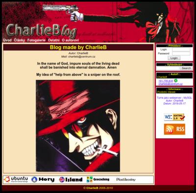 Hlavní stránka CharlieBlog Enginu v1.0