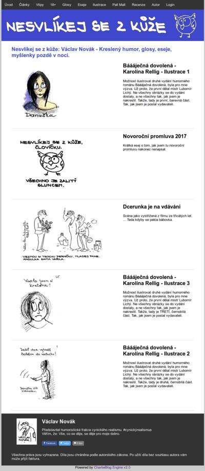 Hlavní stránka CharlieBlog Enginu nasazeného na nesvlikejsezkuze.cz