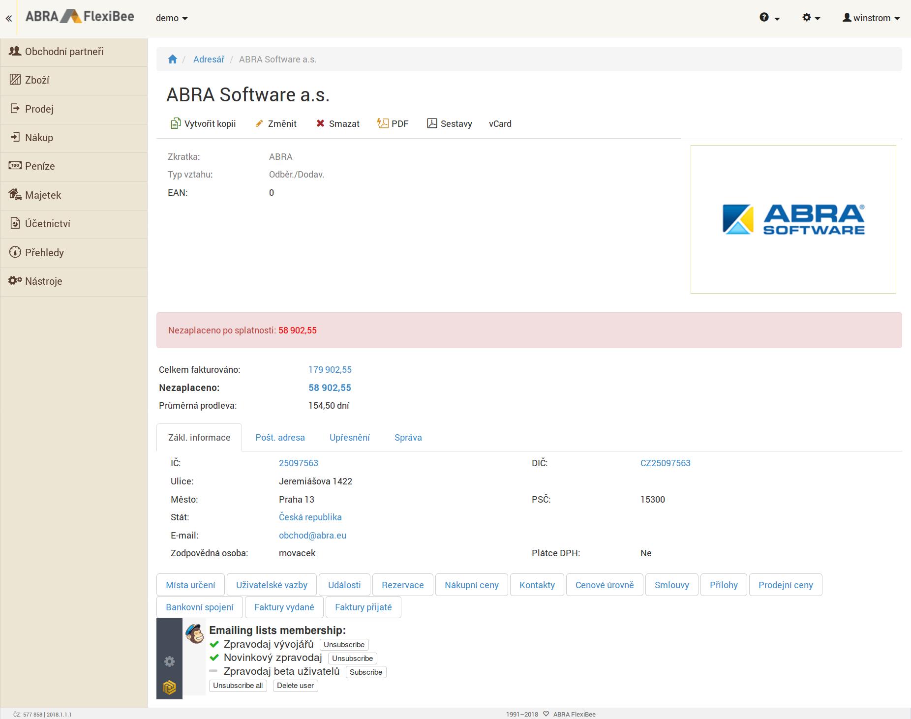 MailChimp panel ve webovém rozhraní ABRA FlexiBee