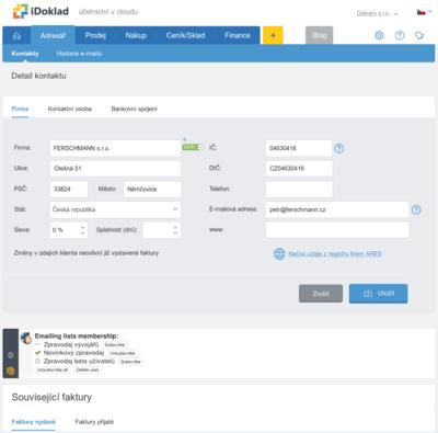 MailChimp panel v iDokladu