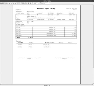 Vytištěná přijatá faktura s přenesenou daňovou povinností