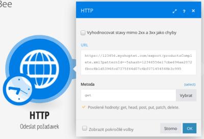Nastavení HTTP modulu pro načtení dat