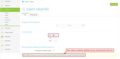 Export zákazníků ze Shoptetu do XML