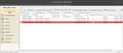 Ukázka master produktu a variant ve FlexiBee