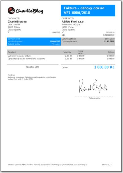 Ukázka vydané faktury vystavené neplátcem DPH