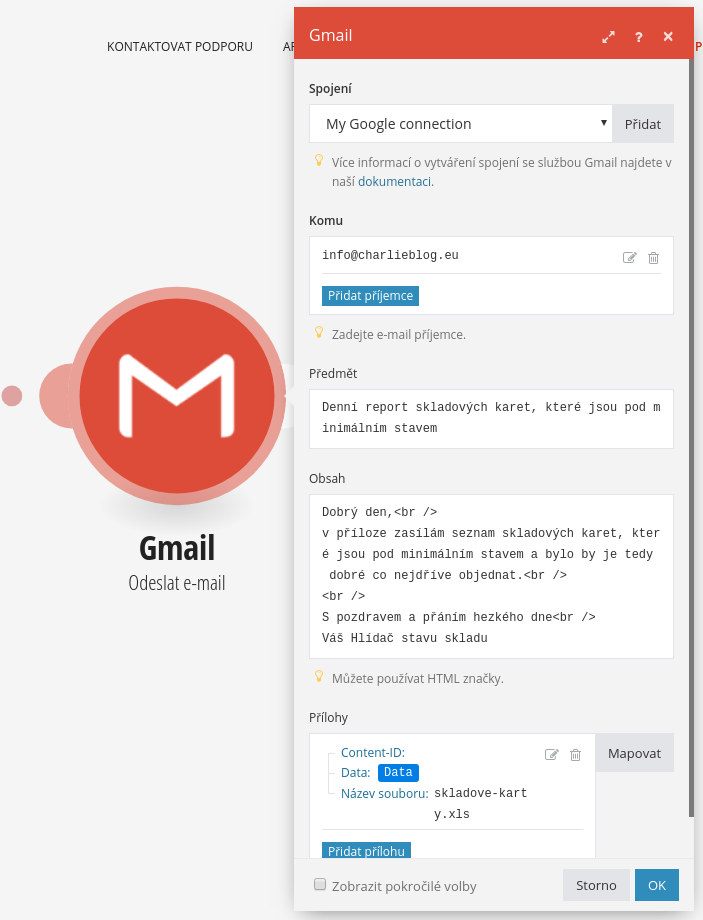 Integromat gmail odeslani emailu