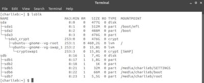 Výpis připojených disků příkazem lsblk