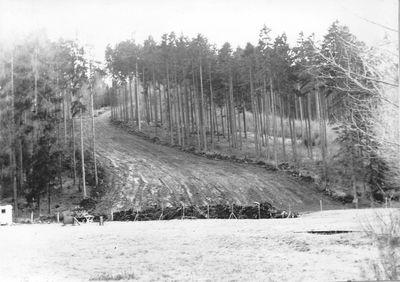 1973 – pohled na novou nýrskou sjezdovku. V této době ještě bez lyžařského vleku. Foto: Archiv lyžařského oddílu