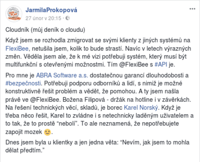 Jarmila prokopova acc real facebook post